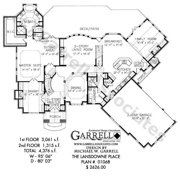 Lansdowne Place House Plan, 01068, 1St Floor Plan, European Style