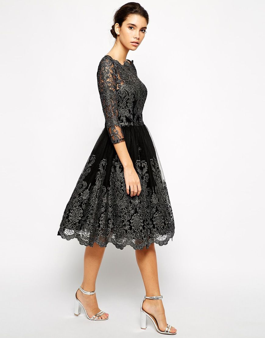 LBD!! Chi Chi London Premium Metallic Lace Midi Prom Dress with Bardot Neck ($91.00) out of stock