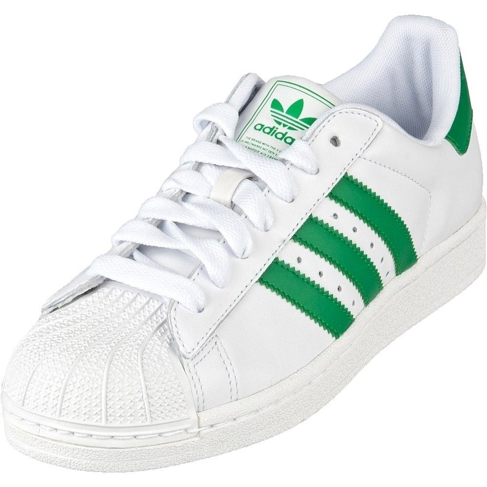 New Men\u0027s ADIDAS - G17069 Superstar II White/Fairway/White/Green Sz 19