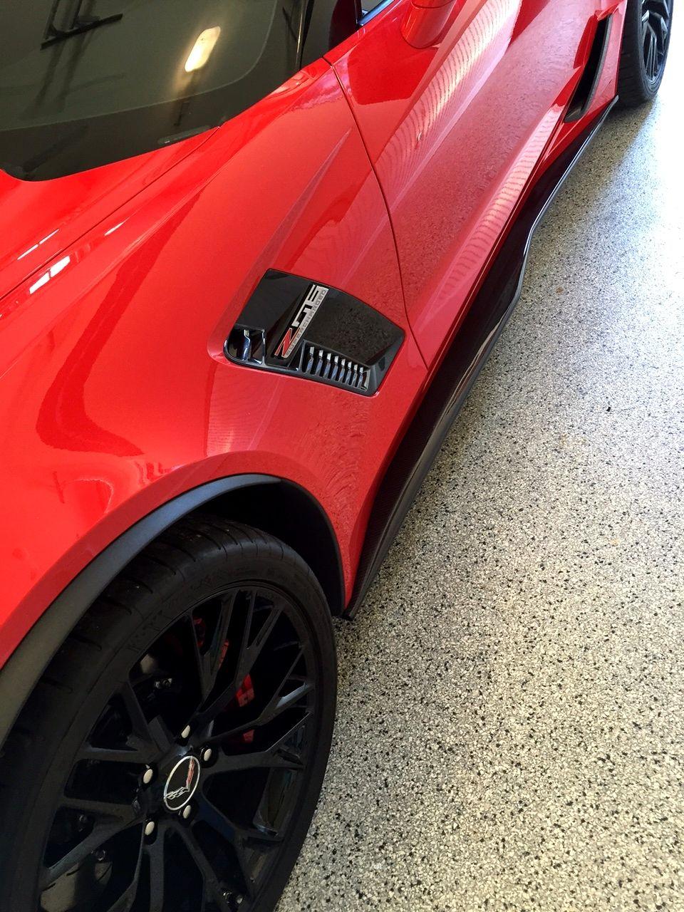 C7 Corvette Z06 Style Carbon Fiber Side Skirts Package Corvette Red Corvette Carbon Fiber