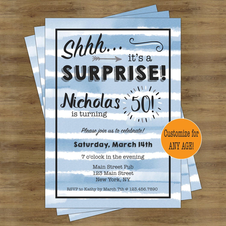 Surprise Birthday Invitation; Surprise Party Invitation; Birthday ...