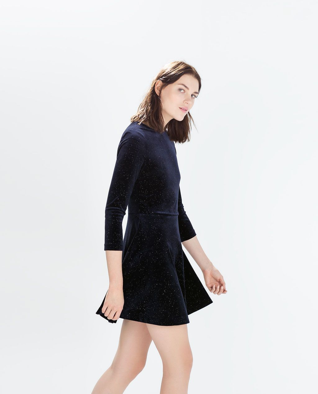 shiny velvet dress - dresses - woman - sale | zara united states