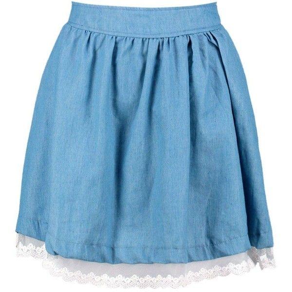 925cdc5f7 Boohoo Lola Denim Lace Hem Skater Skirt ($20) ❤ liked on Polyvore featuring  skirts, pleated midi skirts, pleated mini skirt, denim mini skirt, ...
