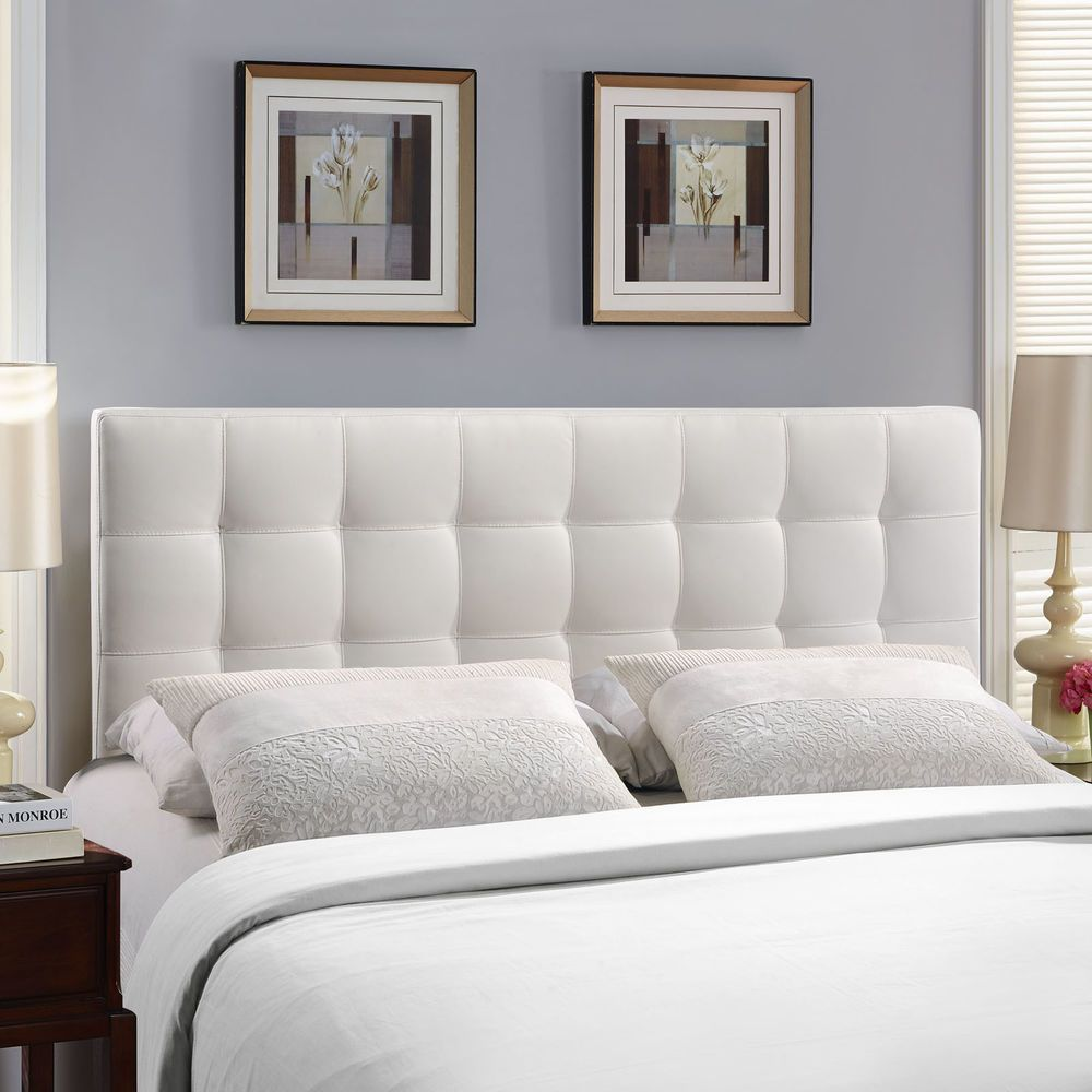 Queen Upholstered Headboard Faux Leather White Contemporary