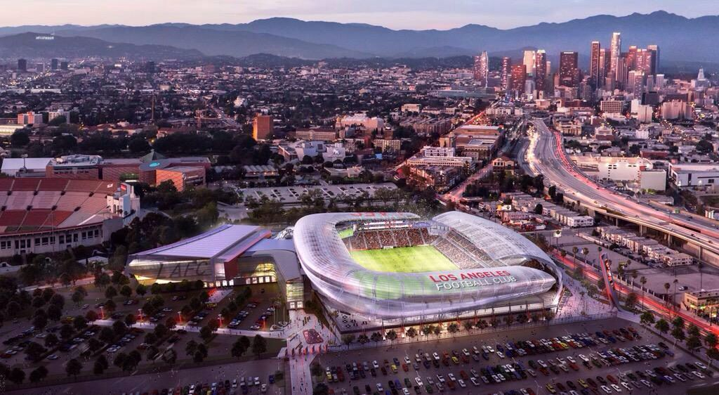 The Plan For The New Lafc Stadium On The Grounds Of The Old La Sports Arena Looks Awesome Soccer Stadium Sports Arena Los Angeles Football Club