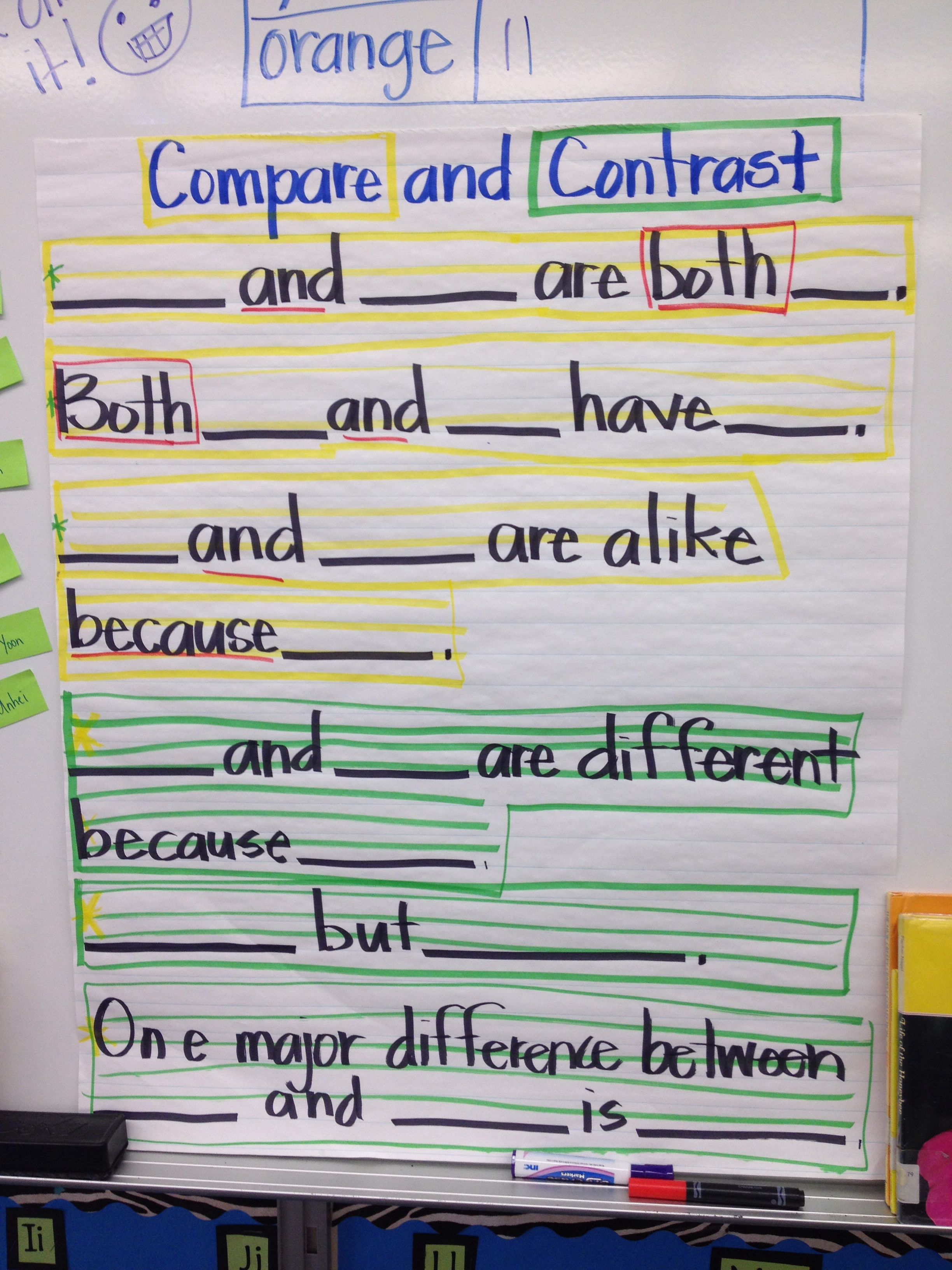 Compare and Contrast Sentence Stems