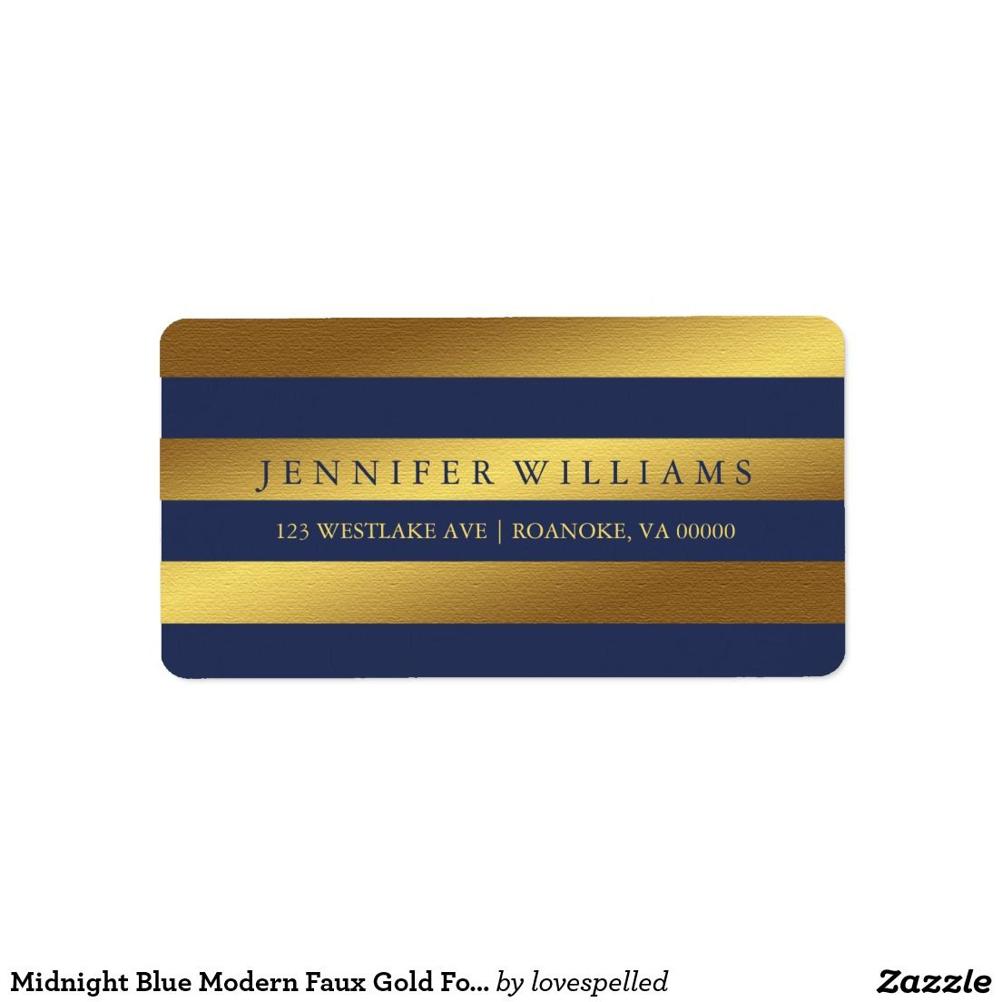 Midnight Blue Modern Faux Gold Foil Stripes Label