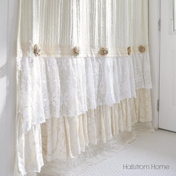 Cream Chenille Shower Curtain Hallstrom Home 1 Shabby Chic