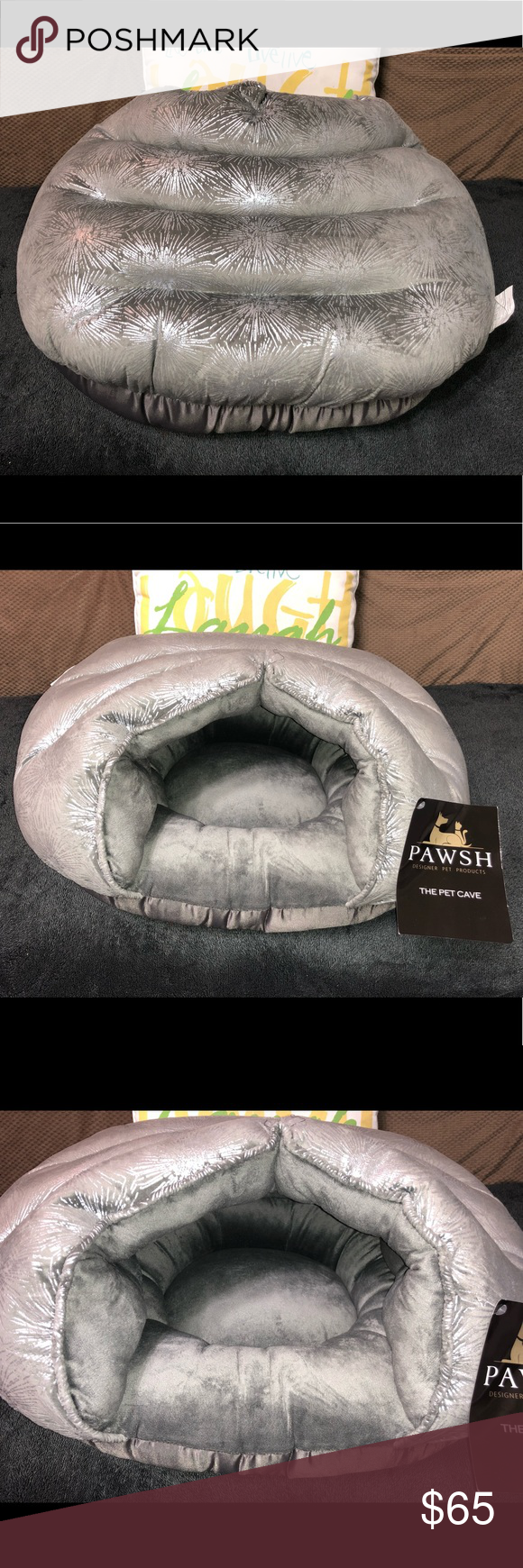 Pawsh The Pet Cave Pet Bed Cat Dog This Beautifully Made Cat Cave Has A Silvery Metallic Print Fabric On The Outside And A Thick Pet Beds Cat Pet Bed Pets