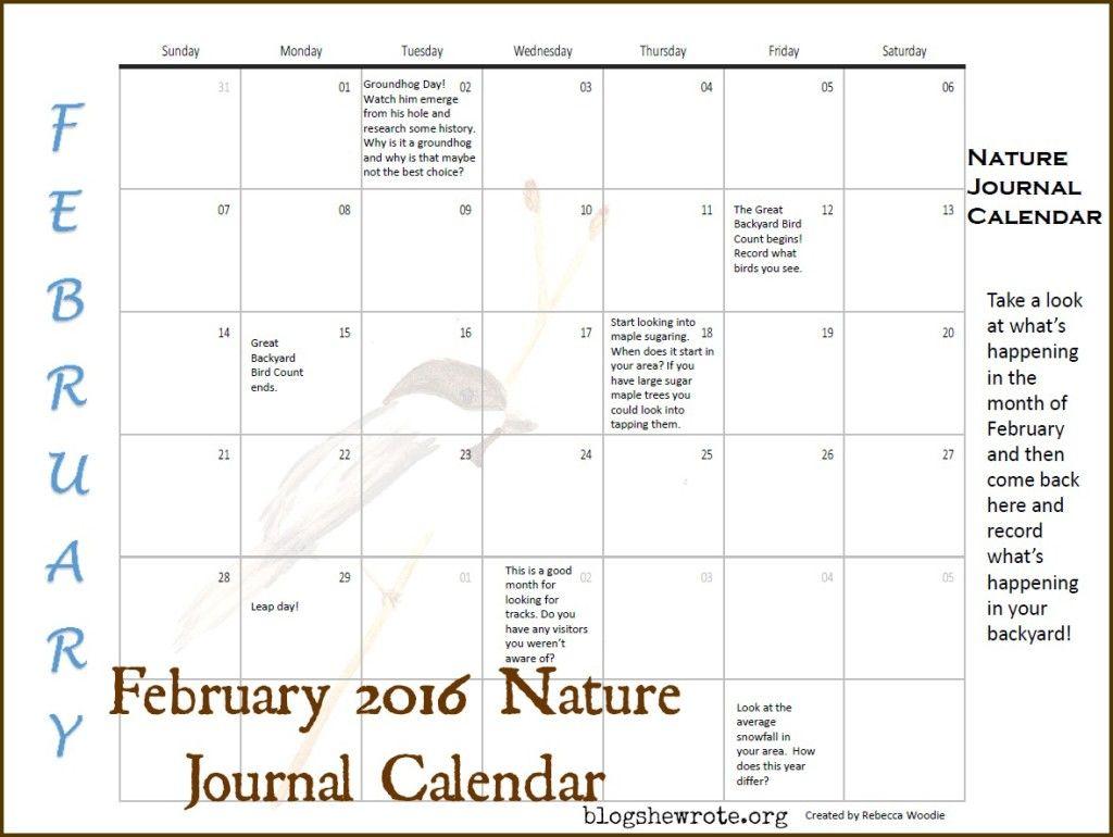 February Nature Journal Calendar