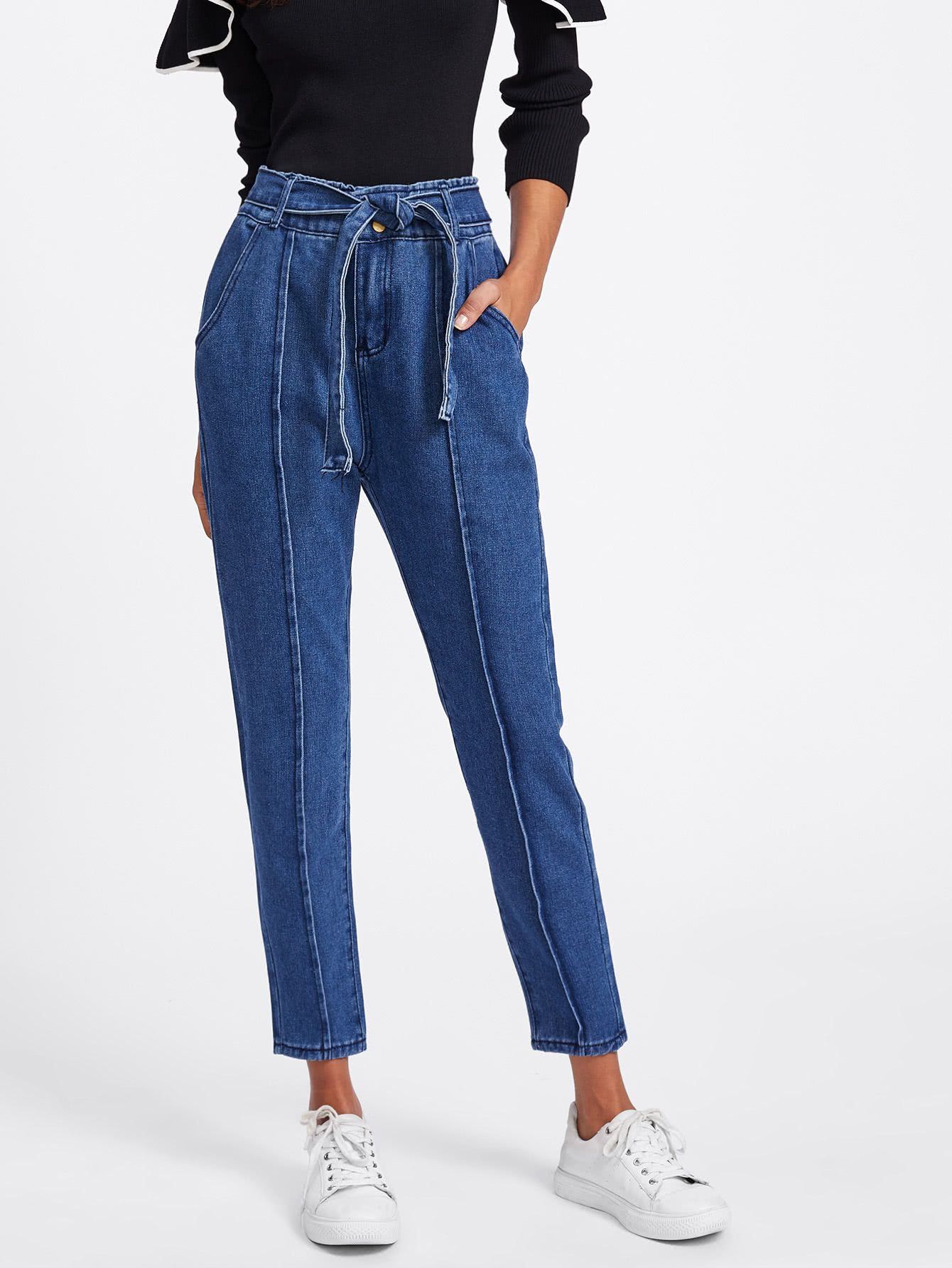 591bf6211ce0 Shop Tie Waist Seam Front Jeans online. SheIn offers Tie Waist Seam Front  Jeans   more to fit your fashionable needs.
