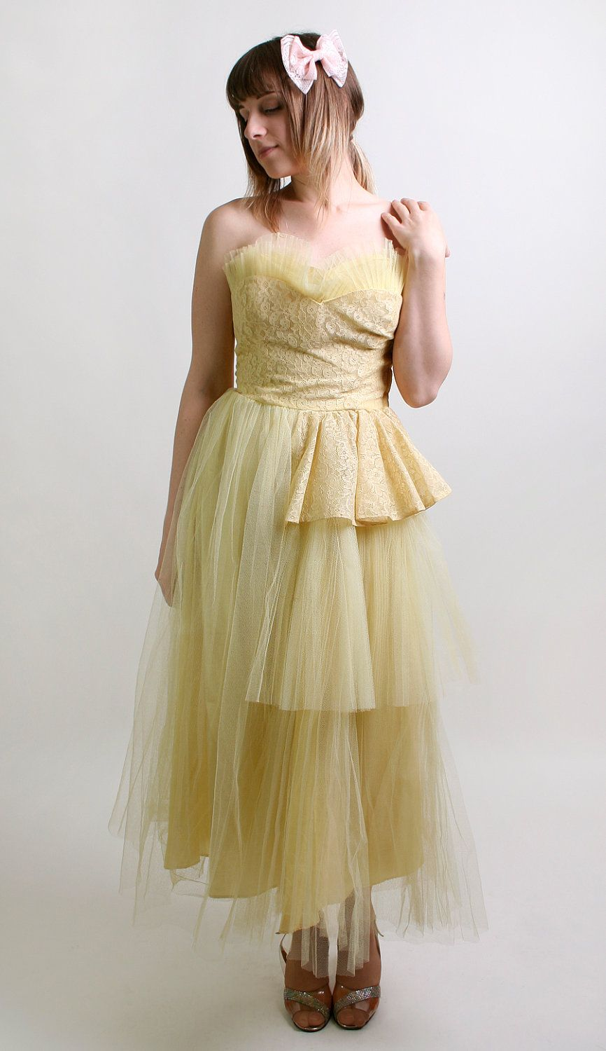 1950s Prom Dress in Sunshine Yellow - Strapless Tulle Evening Formal ...
