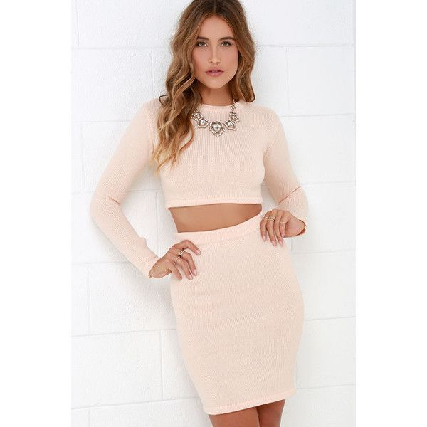 Belfry Chimes Pale Blush Two-Piece Sweater Dress ($75) ❤ liked on ...