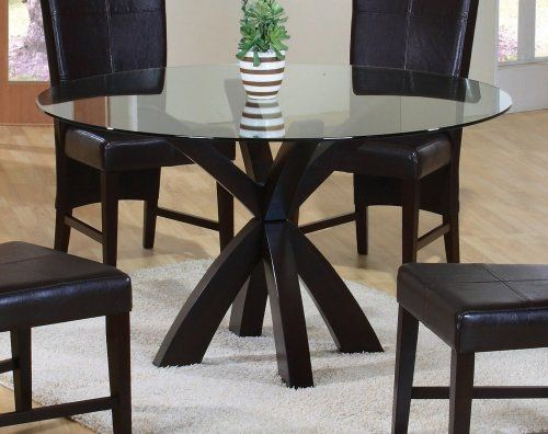 Dining Table With Round Gl Top In Rich Cuccino Coaster Home Furnishings Http Www Dp B002pbwdru Ref Cm Sw R Pi Gy Dub0ggxam5