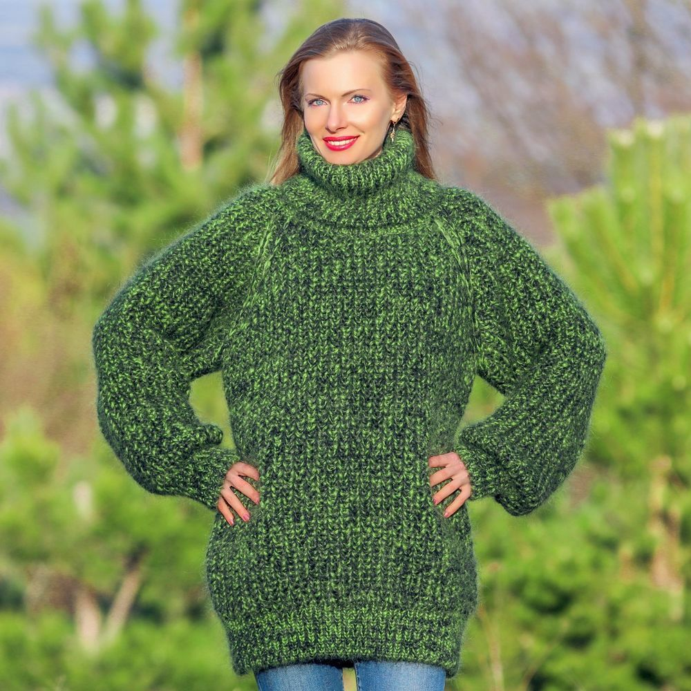SUPERTANYA Hand Knitted Mohair Sweater GREEN Ribbed Jumper ...