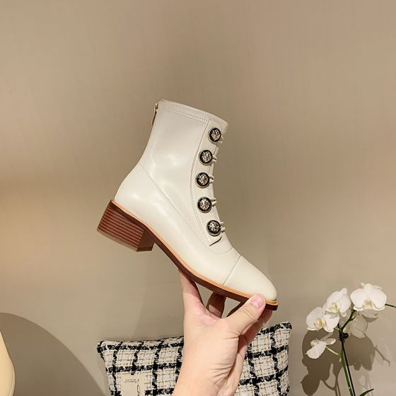 Fashion Classic Winter Beige Street Wear Womens Boots 2021 Leather 4 Cm Low Heel Square Toe Boots In 2021 Womens Boots Square Toe Boots Low Heels