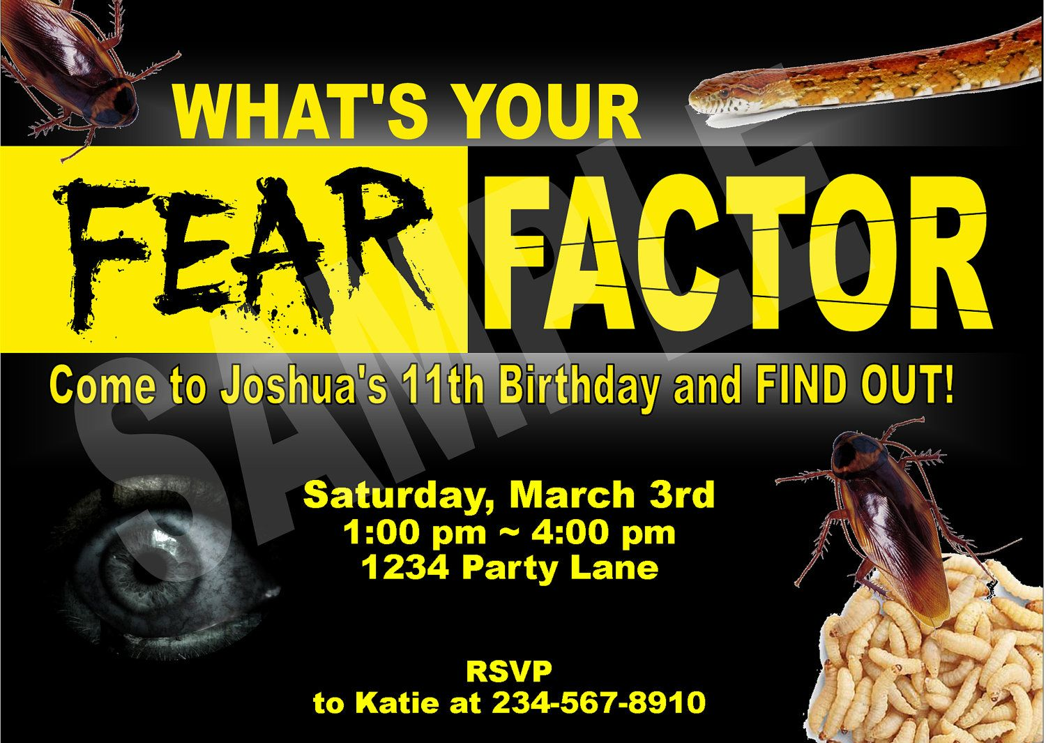 Fear Factor Party Kit Invitation Candy Bar by funtasticprintables – Fear Factor Party Invitations