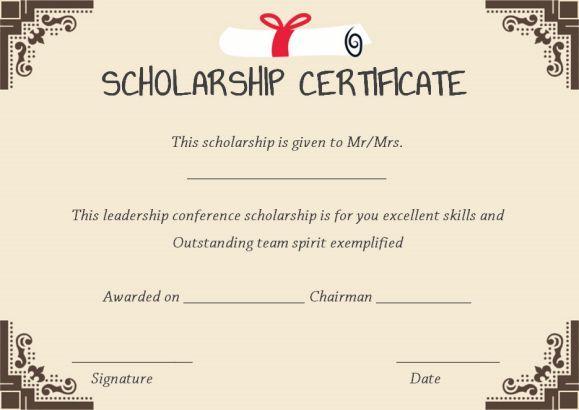 scholarship winner certificate template Scholarship certificate