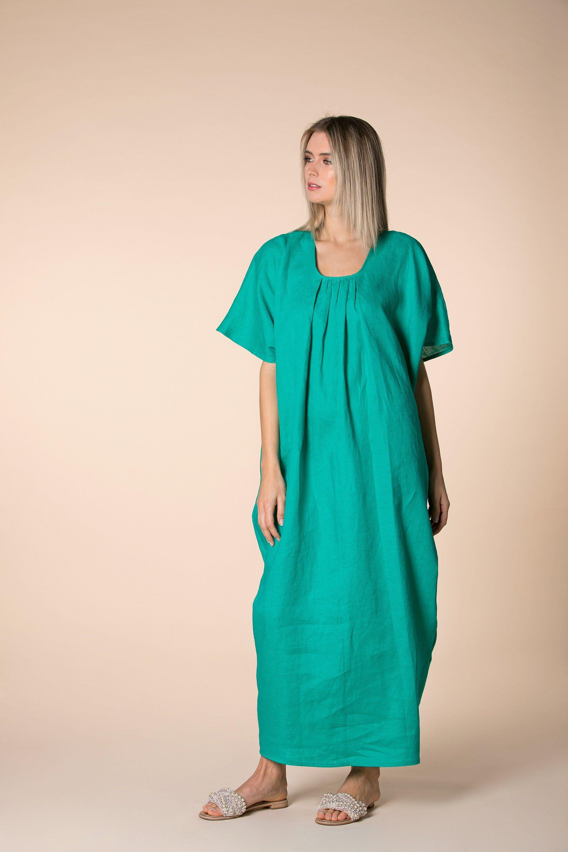Green Linen Dress, Kaftan Dress, Linen Clothing, Plus Size Linen, Loose Maxi Dress, Maternity
