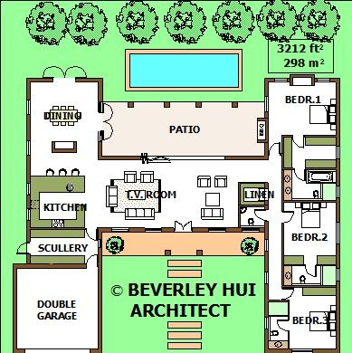 H Shaped House Plans With Pool In The Middle Cape Architect Company Pool House Plans Courtyard House Plans Single Storey House Plans