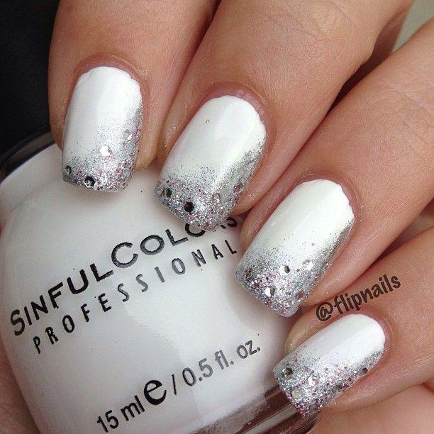 Instagram photo by flipnails nails pinterest nail nail silver sparkle on white wedding nails prinsesfo Choice Image