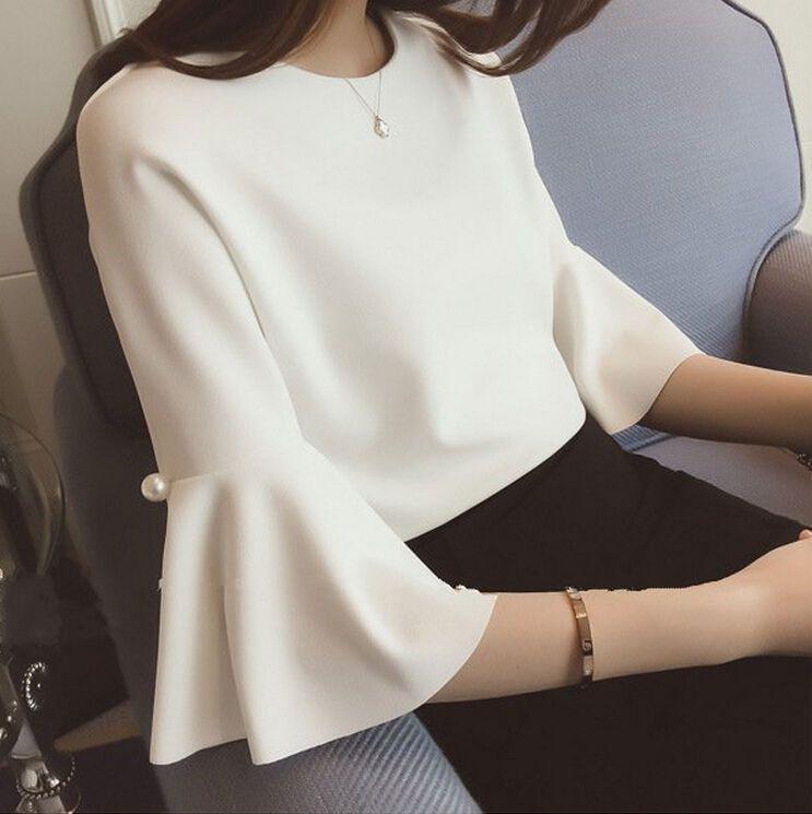 dab05daa4a4 Vogue Korean Women Casual Chiffon Loose Slim Solid 3 4 Sleeve Tunic T Shirt  Tops