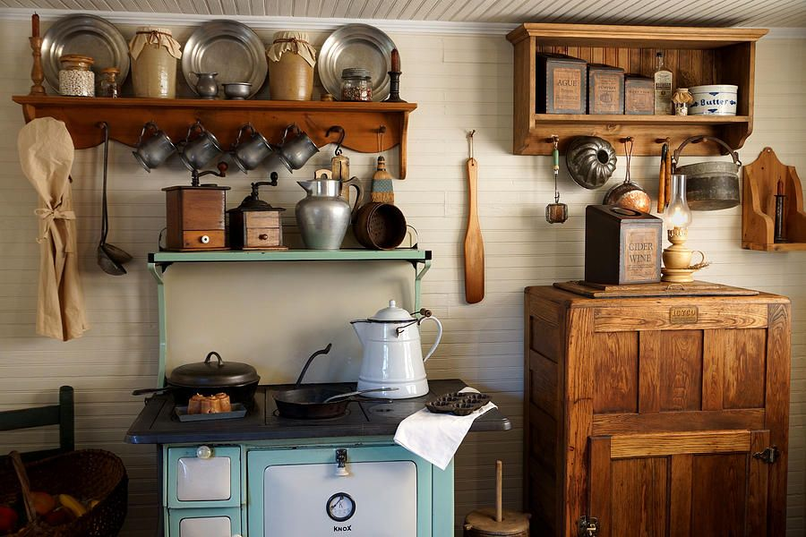 Old Country Kitchen Cabinets photos of vintage kitchens | Old Country Kitchen Photograph   Old