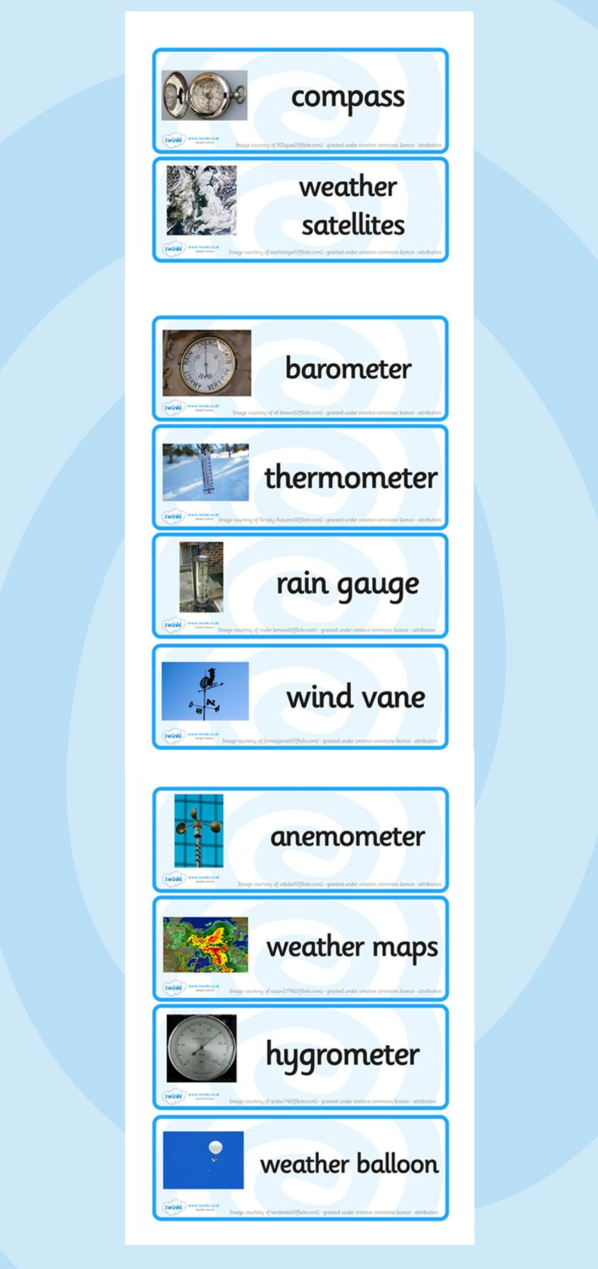 Weather Instrument Word Cards Weather Instruments Teaching Weather Weather Tools