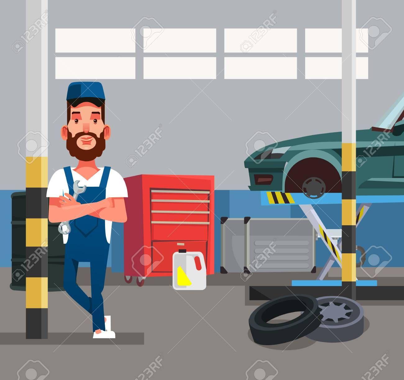Auto Mechanic Man Worker Holding Wrench Car Repair Diagnostics