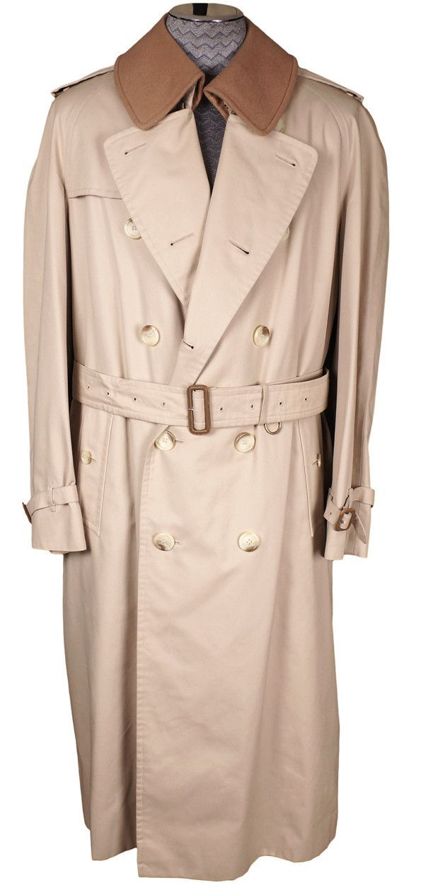 0682196eb2390 Vintage Burberry Prorsum Classic Trench Coat Beige with Wool Lining Mens  Size 46 L Long