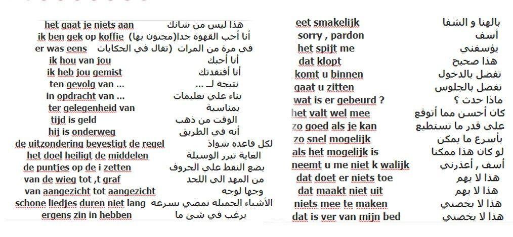 من أهم الجمل و الكلمات شائعة في اللغة الهولندية Math Math Equations Person