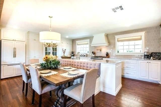 image result for joanna gaines chandeliers booth seating in kitchen kitchen island dining on kitchen layout ideas with island joanna gaines id=77272
