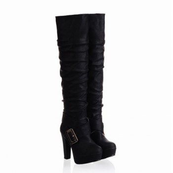 Stylish Buckle and Ruffle and Pure Color Design Women's High Boots