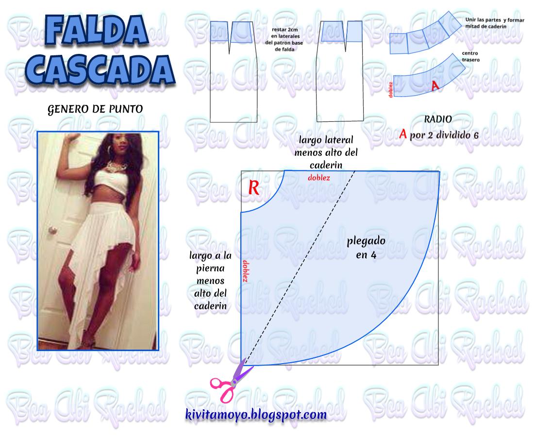 KiVita MoYo: FALDA CASCADA | Patrones/moldes | Pinterest | Falda ...