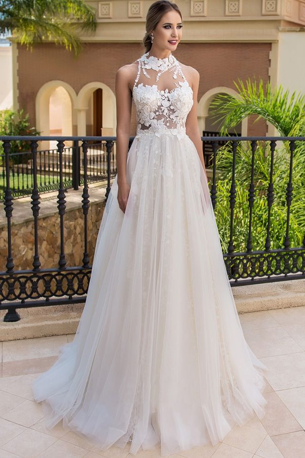 a8188917d048 Stunning Tulle High Collar A-line Wedding Dresses With Beaded Lace Appliques