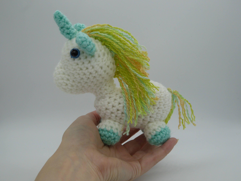 Amigurumi Unicorn : Kawaii rainbow unicorn tiny amigurumi unicorn unicorn stuffed