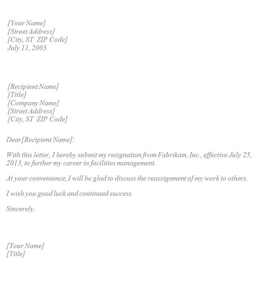basic resignation letter tempalte