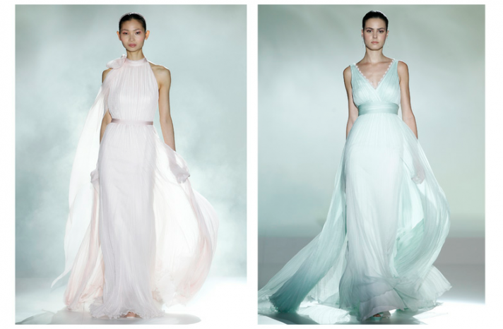 Forget the white aisle & go pastel for your #wedding dress. Just a thought...