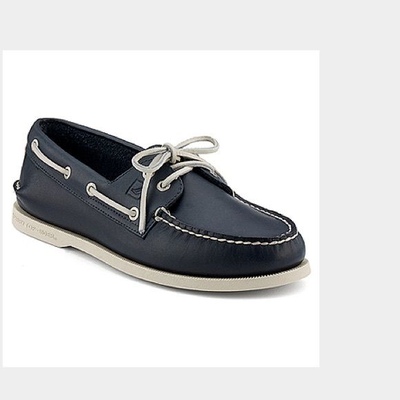 Sperry Top-Sider Navy boat shoes Worn once so the white bottom looks grey,  but other than that the laces, interior and leather look new.