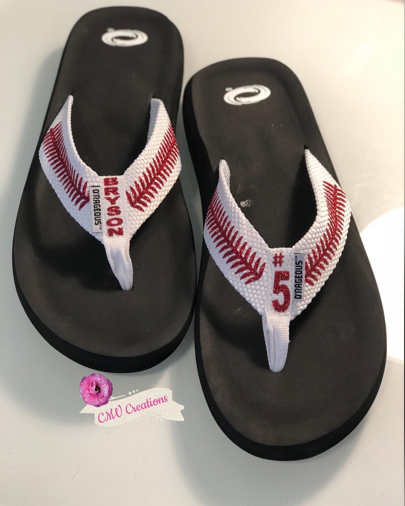 830f73db3cb9 PERSONALIZED BASEBALL flip flops   sandals FREE