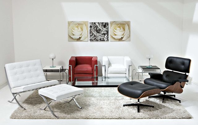 Barcelona Chair And Eames Lounge Chair.