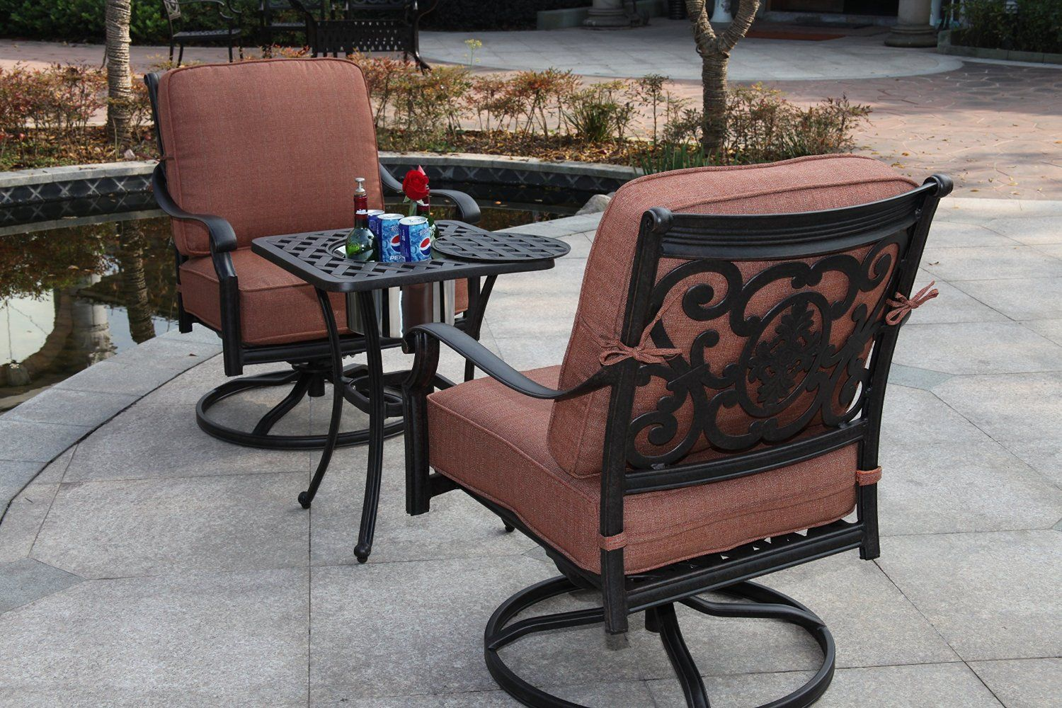 Amazon Com Darlee St Cruz 3 Piece Club Rocker Chair Set With Seat Back Cushions And 21 Inch End T Modern Patio Furniture Patio Furniture Sets Rocker Chairs