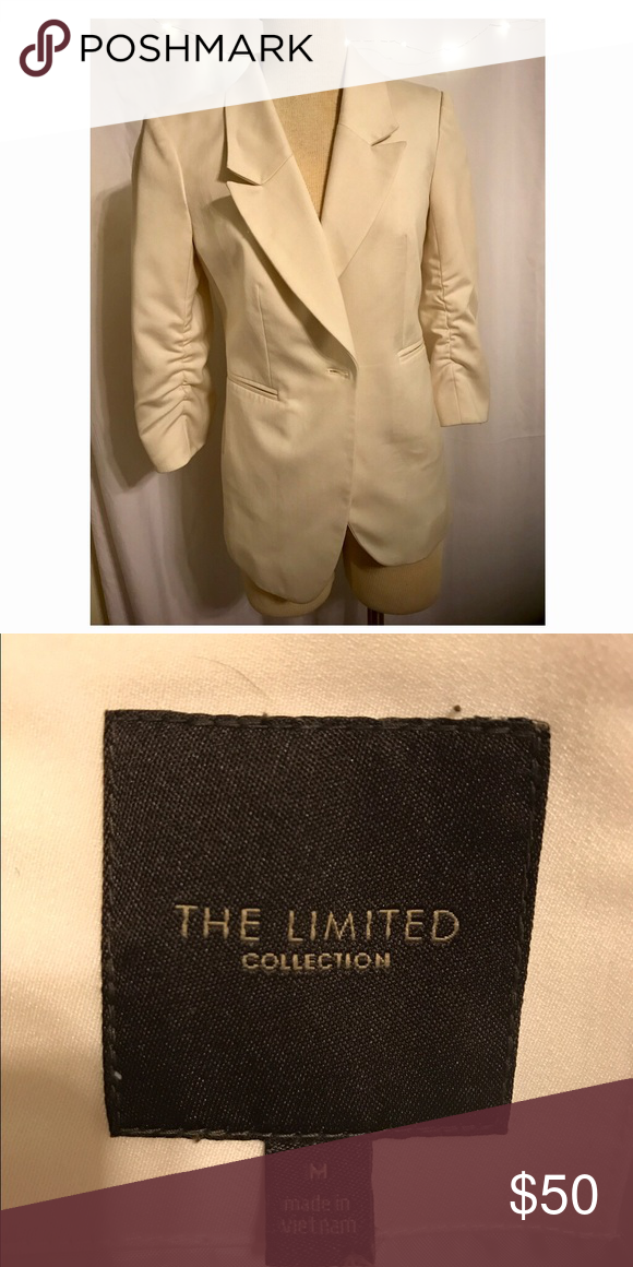 White blazer from the Limited White blazer, can be worn to the office or accessorized for a night out. Size med. black sequin tank also for sale; see separate listing :) discounts offered on bundles The Limited Jackets & Coats Blazers