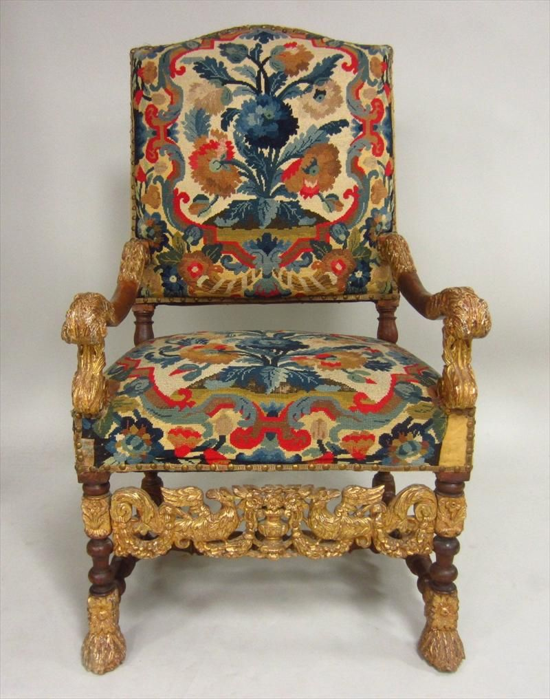 Set of 4 Louis XIV Walnut and Gilt Fauteuils, Circa 1700 with later ...