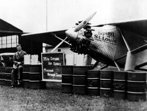 """Charles Lindbergh with the """"Spirit of St. Louis"""" at the 35th Division enclosure, Lambert Field, 17-19 June 1927. Missouri History Museum"""