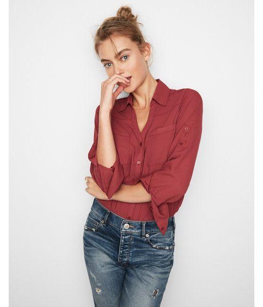 b7827d762256 Slim Fit Convertible Sleeve Portofino Shirt Orange Women s Medium ...