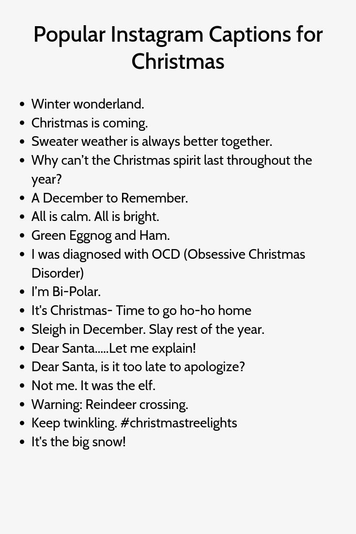 Popular Instagram Captions For Christmas Christmas Captions For Instagram Instagram Quotes Captions Funny Instagram Captions