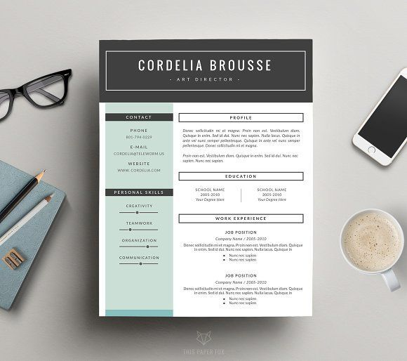 Resume Template 3 Pages, CV Template by This Paper Fox on - resume template for pages