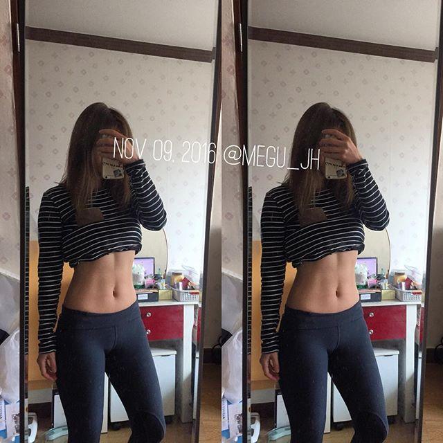 2016/11/09 16:40:56 megu_jh_ Nov 09, 2016 모닝눈바디🕶 천천히 천천히 다시... . #운동 #건강 #운스타그램 #헬스타그램 #운동하는여자 #눈바디 #바디체크 #복부체크 #healthy #workout #exercise #training #gym #健康 #運動 #筋トレ . #jh_눈바디👙  #健康