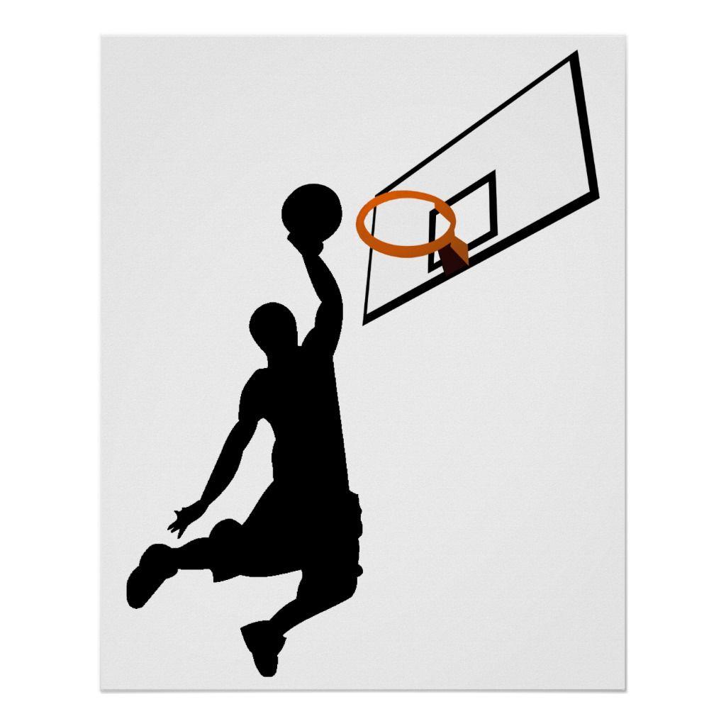 Silhouette Slam Dunk Basketball Player Poster Zazzle Com Slam Dunk Custom Wall Art Basketball Players